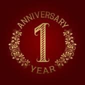 Golden emblem of first anniversary Celebration patterned sign on red