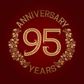 Golden emblem of ninety fifth anniversary Celebration patterned sign on red