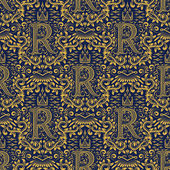 Golden blue damask seamless pattern R letter