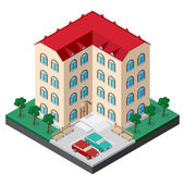 Isometric multistory building courtyard with benches cars trees and lawn