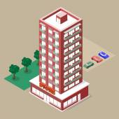 Isometric multistory building with store and balconies