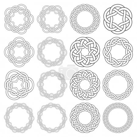 16 circular decorative elements with stripes braiding