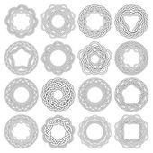 16 circular decorative elements with stripes braiding
