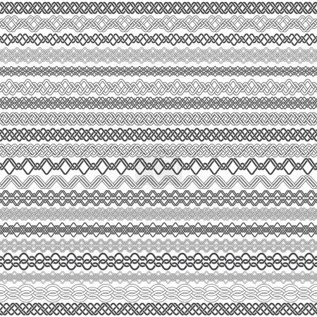 Illustration pour Ensemble de bordures vintage pour le design. Vingt éléments de bordure pour cadres en style nouage . - image libre de droit