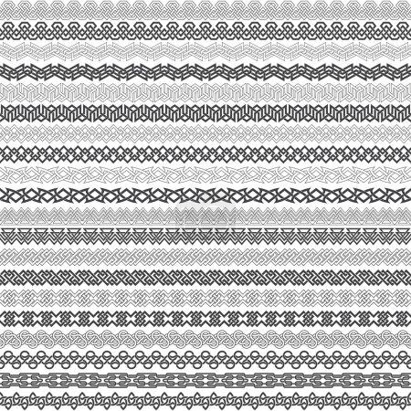 Illustration pour Ensemble de bordures vintage pour le design. Vingt éléments de bordure pour cadres en style nouage. Kit brosses à motifs. - image libre de droit