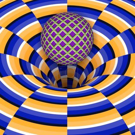 Illustration pour L'illusion optique de la balle tombe dans un trou. Contexte abstrait . - image libre de droit