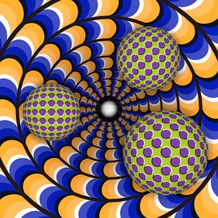 Illustration pour Illusion optique de rotation de trois billes autour d'un trou mobile. Contexte abstrait . - image libre de droit