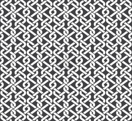 Illustration pour Modèle sans couture de bandes tressées avec swatch pour le remplissage. Texture abstraite d'ornement celtique. Mode fond géométrique pour le web ou la conception d'impression. - image libre de droit