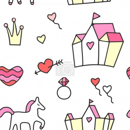 Princess theme seamless pattern