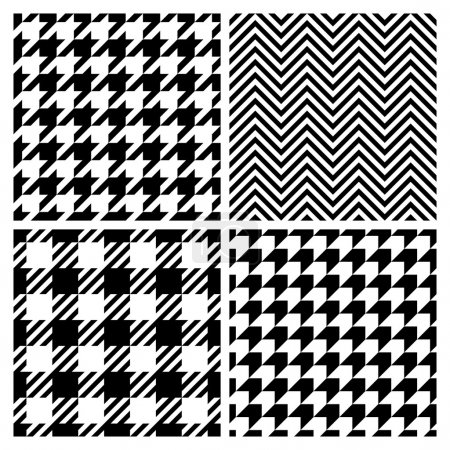 Illustration for Set of four fashion patterns. Houndstooth, chevron, plaid patterns - Royalty Free Image