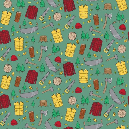 Illustration for Seamless pattern with lumberjack's elements. Vector illustration - Royalty Free Image