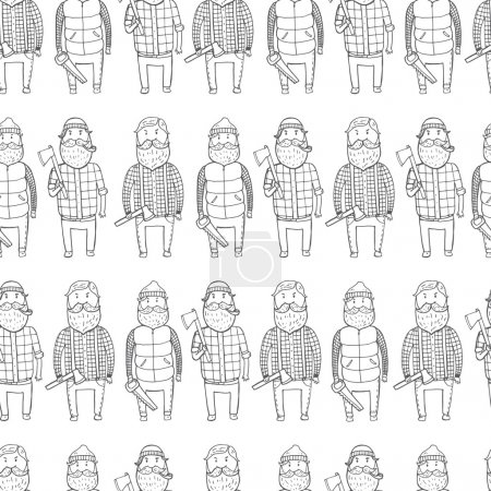 Illustration for Seamless pattern with cute lumberjacks. Vector illustration - Royalty Free Image