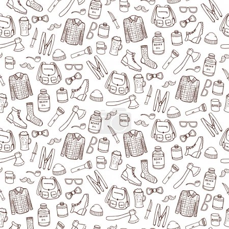 Illustration for Seamless pattern with lumbersexual elements. Vector illustration - Royalty Free Image