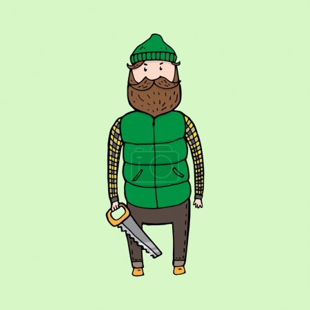 Illustration for Cute bearded lumberjack with a saw. Vector illustration - Royalty Free Image
