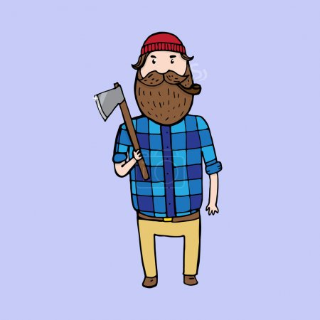 Illustration for Cute bearded lumberjack with an axe. Vector illustration - Royalty Free Image