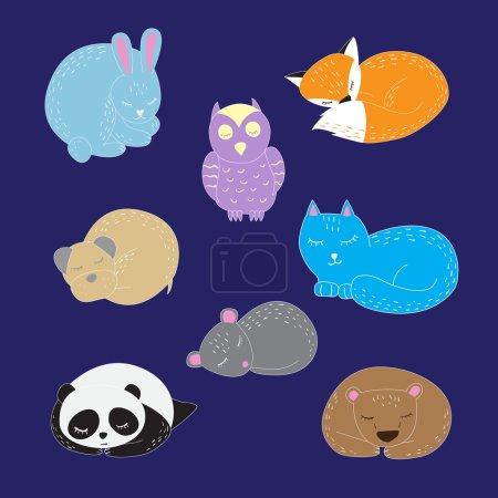 Set of cute sleeping animals