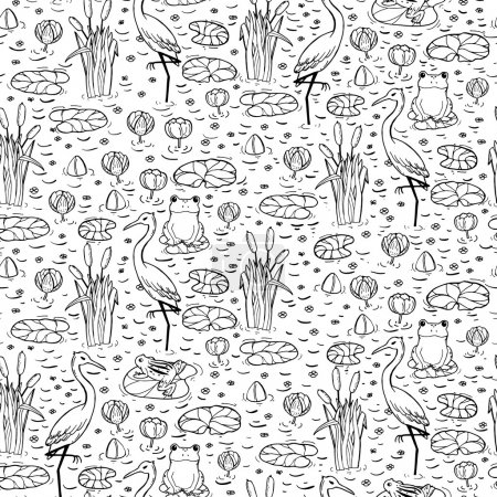 Seamless pattern with canes, herons and lillies. S...