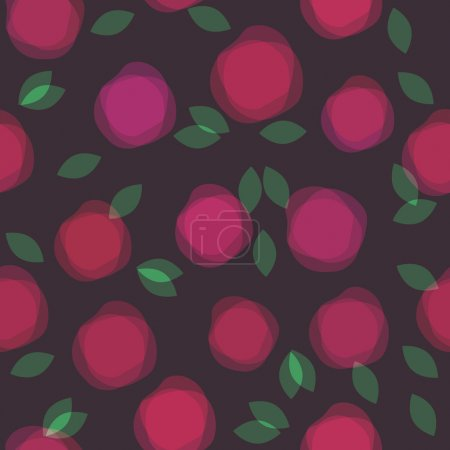Seamless pattern with transparent flowers on black background