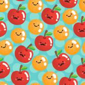 Seamless pattern with smiling apples and oranges Vector illustration