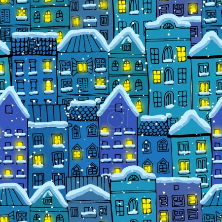 Seamless pattern with winter city under the snow