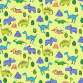 Seamless pattern with different cute dinosaurs mountauns and eg