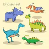 Set of different cute dinosaurs mountauns and eggs in cartoon s