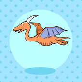 Cute dinosaur in cartoon style with footprint on background