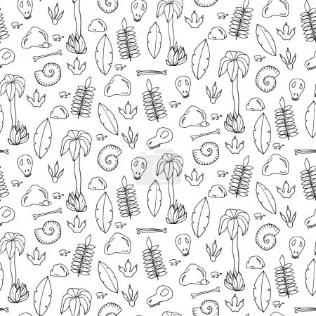 Seamless pattern with palms, leafs, sculls and rocks