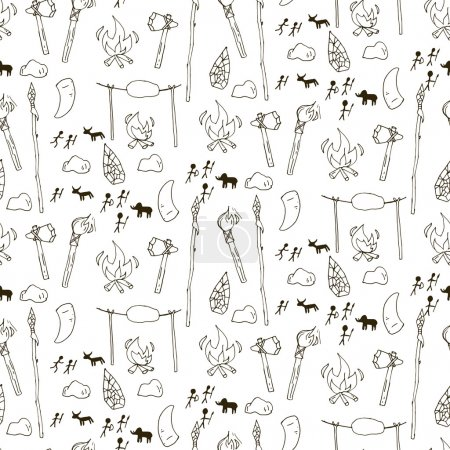 Seamless prehistorical pattern in cartoon style