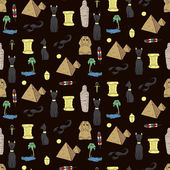 Seamless pattern with egyptean elements such as cats sphinx mu