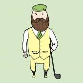 Illustration of isolated cute bearded gentleman Vector illustration