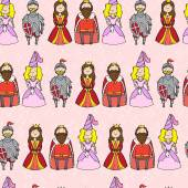 Seamless pattern with princess queen king and knight