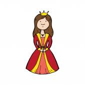 Queen with a crown in cartoon style