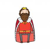 King with a crown in cartoon style Vector illustration