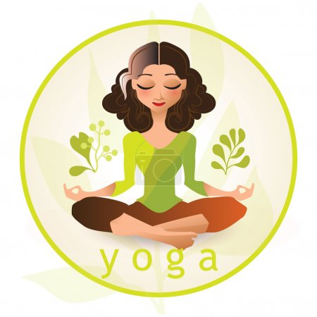 Illustration for Yoga poses. Vector illustration made in cartoon style. Yoga exercises. Women yoga. Yoga class, yoga center, yoga studio. Yoga poster. Healthy lifestyle. - Royalty Free Image