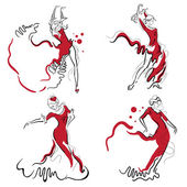 Flamenco dance vector sketches