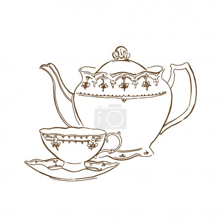 Hand made sketch of tea sets. Vector illustration.