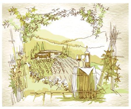 Croquis de vignobles et champs de raisin fabriqué à la main