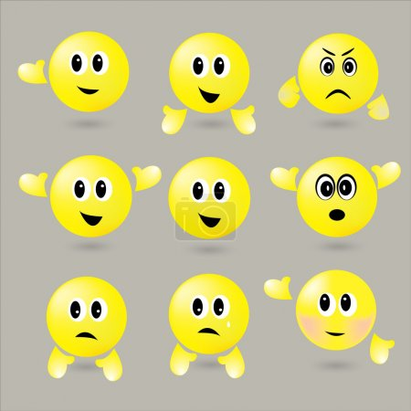 Illustration for The Vector set of surround smileys with different emotions - Royalty Free Image
