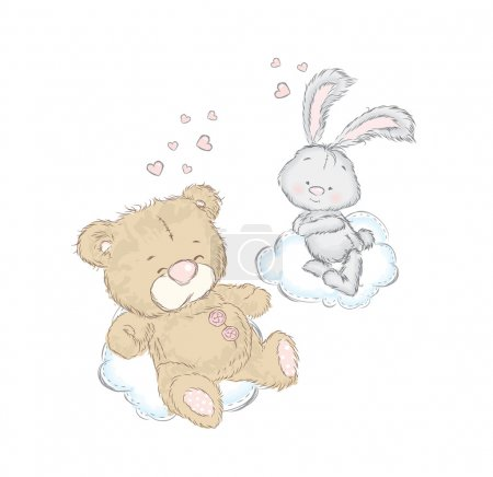 Illustration pour Bear et Bunny sur un nuage. Carte postale avec des bébés animaux mignons . - image libre de droit