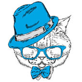 Funny cat in a hat and sunglasses Vector illustration