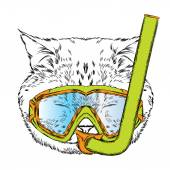 Funny cat in a mask for diving Vector illustration