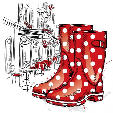 Rubber boots on a background of a city street. Vector illustration for greeting card, poster, or print on clothes. Fashion & Style. Vintage drawing.