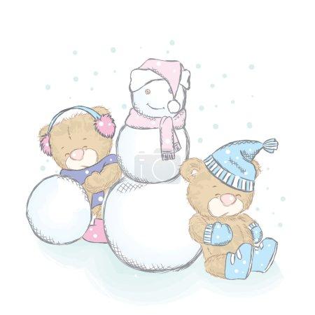 Illustration pour Illustration vectorielle avec des petits et un bonhomme de neige. Dessin pour cartes, affiches ou impressions sur vêtements. Ours en peluche mignon . - image libre de droit