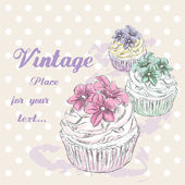 Hand drawing cupcakes Desserts in vintage style Vector