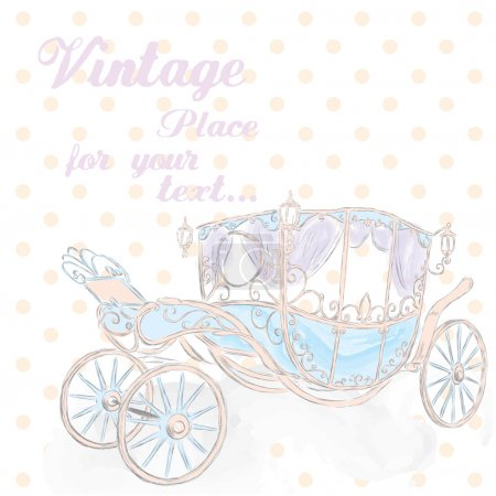 The carriage drawn by hand. Coach princess . Wedding card . Vector illustration for greeting card, poster, or print on clothes.