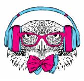 A bird in the headphones and sunglasses Vector illustration for greeting card poster or print on clothes