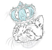 Funny cat in the crown Vector illustration for a card or poster Prints on the clothes or accessories