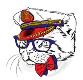Funny cat in the captain's cap Vector illustration