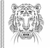 Tiger vector Ethnic patterns cover notebook notebook print